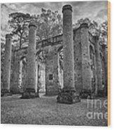 Historic Sheldon Church 5 Bw Wood Print