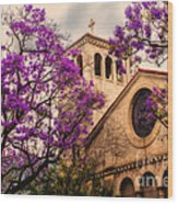 Historic Sierra Madre Congregational Church Among The Purple Jacaranda Trees  Wood Print