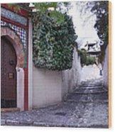 Historic Street At Albaycin In Granada' Wood Print