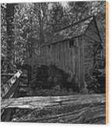 Historical 1868 Cades Cove Cable Mill In Black And White Wood Print