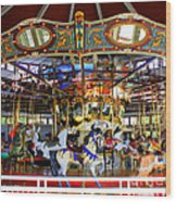 Historical Carousel In Tennessee Wood Print