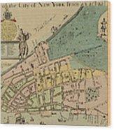 Historical Manhattan Map 1728 Wood Print
