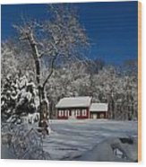 Historical Society House In The Snow Wood Print