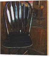Hitchcock Chair In The Corner Wood Print