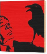 Hitchcock In Red Wood Print by Jera Sky