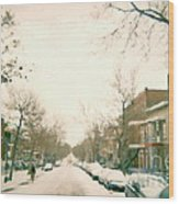 Hiver Psc Winter In The Point Snowy Day Paintings Montreal Art Cityscenes Brick Houses Snowed In Wood Print