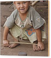 Hmong Boy Wood Print by Adam Romanowicz