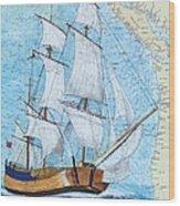 Hms Endeavour Tall Sailing Ship Chart Map Art Peek Wood Print