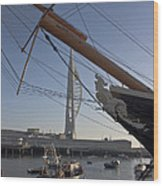 Hms Warrior Viewing The Spinnaker Tower Wood Print