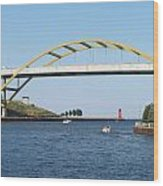 Hoan Bridge Boats Light House 1 Wood Print