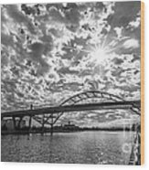 Hoan Bridge Peak Thru Wood Print