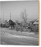 hoar frost covered street in small rural village of Forget Saskatchewan Canada Wood Print