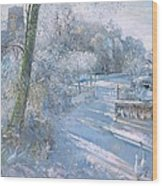 Hoar Frost Morning Wood Print by Timothy  Easton