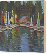 Hobie Cats At Lake Arrowhead Wood Print