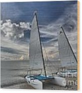 Hobie Cats On The Caribbean Wood Print