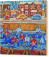 Hockey Art Collectible Cards And Prints Snowy Day  Neighborhood Rinks Verdun Montreal Art C Spandau Wood Print
