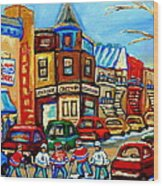 Hockey Art Montreal Winter Street Scene Painting Chez Vito Boucherie And Fairmount Bagel Wood Print