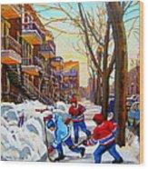 Hockey Art - Paintings Of Verdun- Montreal Street Scenes In Winter Wood Print
