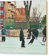 Hockey Art Shimmy Game Local Rink Montreal Paintings Winter Street Scene Verdun Art Carole Spandau Wood Print