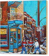 Hockey At Wilensky's Diner Wood Print