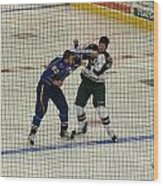 Hockey Fight Wood Print