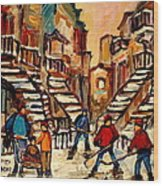 Hockey Game Near Winding Staircases Montreal Streetscene Wood Print by Carole Spandau