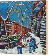 Hockey Game On De Bullion Montreal City Scene Wood Print