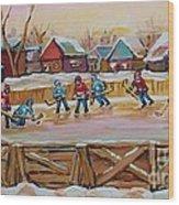 Hockey Game-outdoor Hockey -beautiful Canadian Winter Landscape-hockey Heroes-carole Spandau Wood Print
