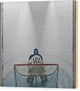 Hockey Goalie In Crease Wood Print