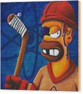 Hockey Homer Wood Print