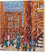 Hockey In The Laneway On Snowy Day Paintings Of Montreal Streets In Winter Carole Spandau Wood Print