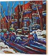 Hockey On De Bullion Montreal Wood Print