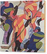 Hockey Players Wood Print by Ernst Ludwig Kirchner