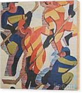 Hockey  Players Wood Print by Pg Reproductions