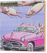 Hogs In A Hot Pink Hudson Hornet Wood Print