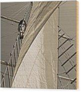 Hoisting The Mainsail In Sepia Wood Print