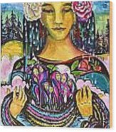 Holding Her Community Close To Her Heart  Wood Print