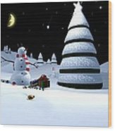 Holiday Falling Star Wood Print by Cynthia Decker