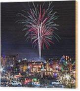 Holiday Fireworks Wood Print