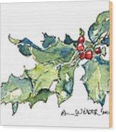 Holiday Holly Wood Print