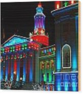 Holiday Lights 2012 Denver City And County Building A1 Wood Print