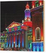 Holiday Lights 2012 Denver City And County Building B2 Wood Print