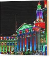 Holiday Lights 2012 Denver City And County Building C1 Wood Print