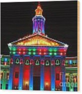 Holiday Lights 2012 Denver City And County Building D3 Wood Print