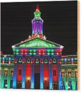 Holiday Lights 2012 Denver City And County Building G1 Wood Print