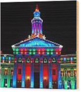 Holiday Lights 2012 Denver City And County Building G2 Wood Print