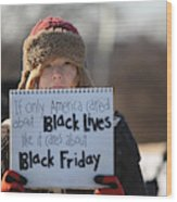 Holiday Shopping Begins In Ferguson As Protests Continue Wood Print