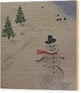 Holiday Snowman Wood Print