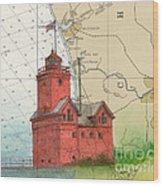 Holland Harbor Lighthouse Mi Nautical Chart Map Art Wood Print