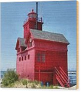 Holland Harbor And Big Red Wood Print